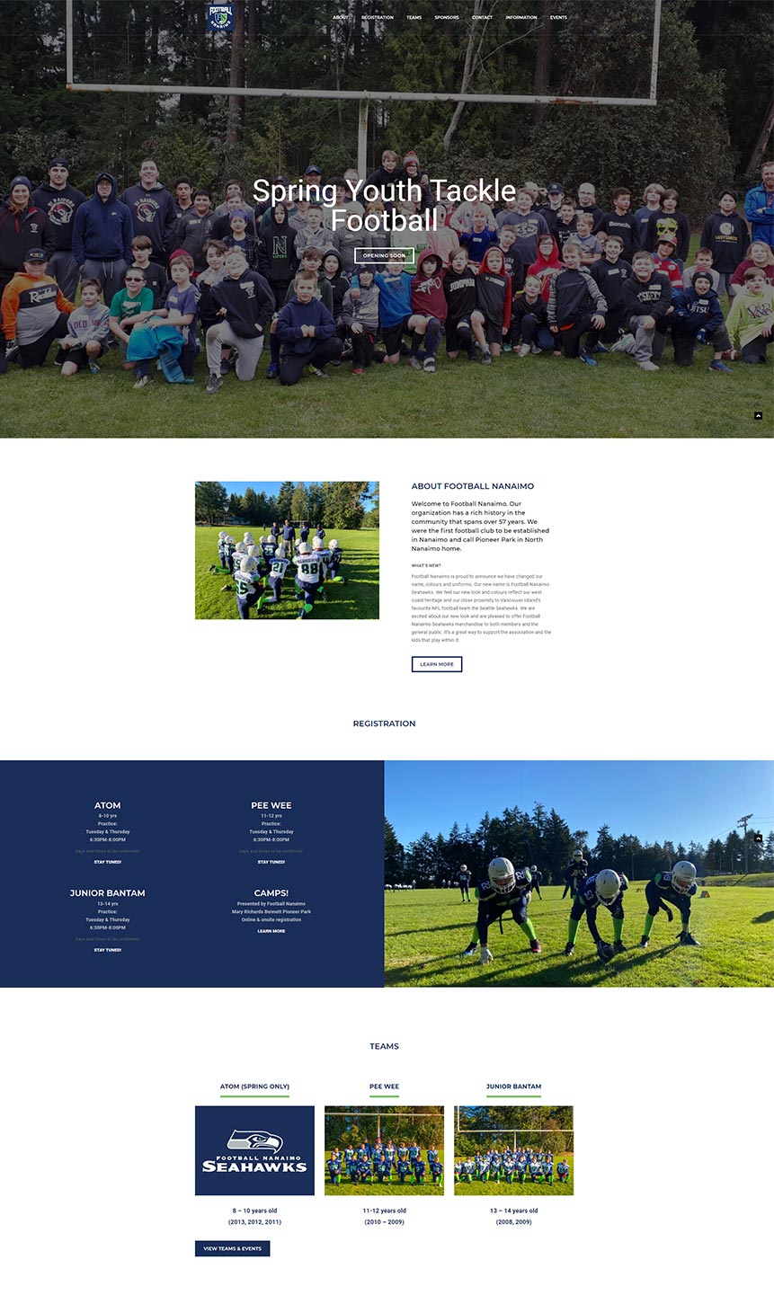 Football Nanaimo Homepage design