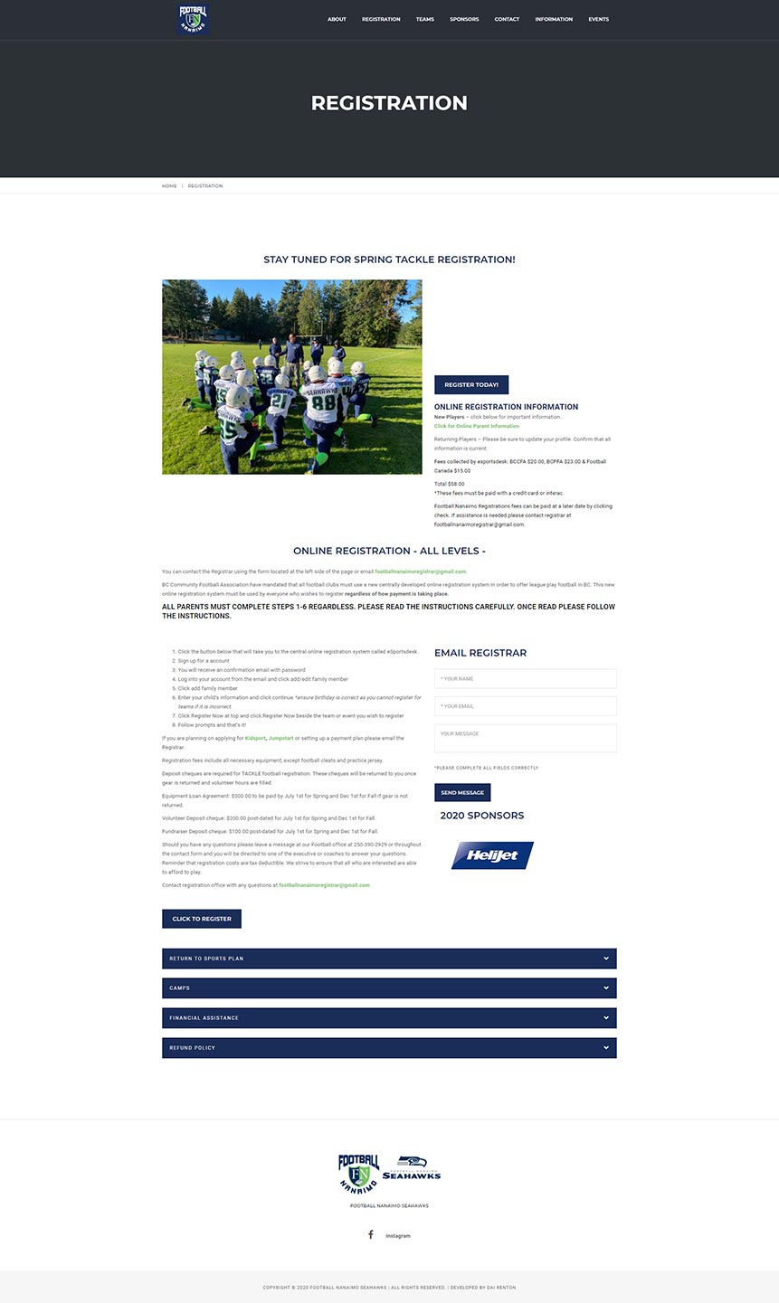 Football Nanaimo website design