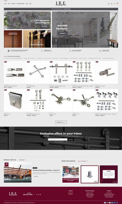 JRE Hardware Inc. - Homepage eCommerce web development